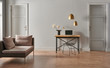 Leinwandbild Motiv Grey living room concept, door detail, working table and chair style.