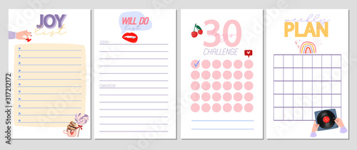 Fototapeta Collection of weekly or daily planner, note paper, to do list, stickers templates decorated by cute romantic elements and human hands illustrations and lovely typography quote. Vector Illustration. obraz