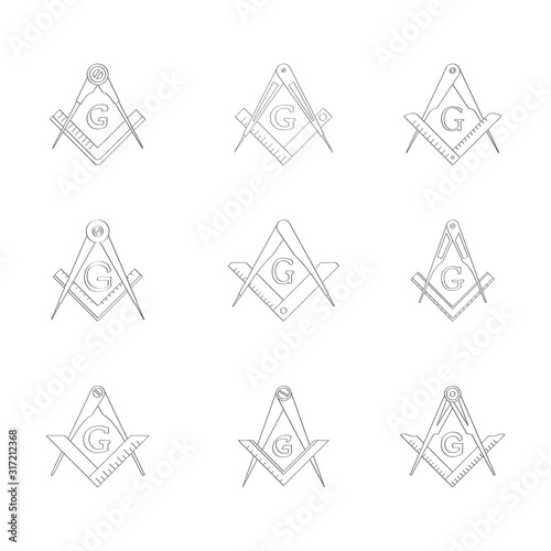 vector set with Masonic Square and Compasses for your design Wallpaper Mural
