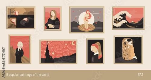 Set of 8 vector paintings, flat minimalism Wallpaper Mural