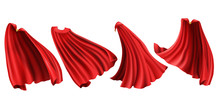 Red Cloaks With Golden Clasp Set. Silk Flattering Capes Front, Back And Side View In Different Positions Isolated On White Background, Superhero Costume. Realistic 3d Vector Illustration, Clip Art