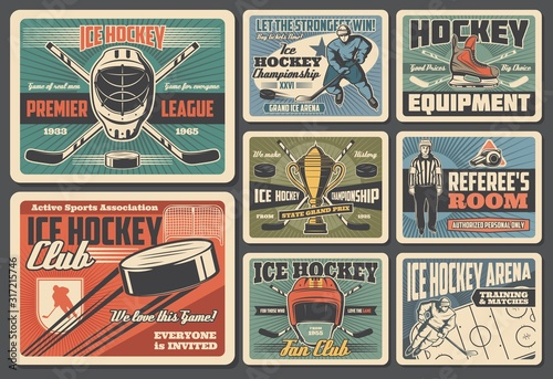 Ice hockey sport equipment, player and referee retro cards Canvas Print