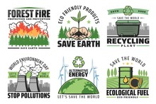 Ecological Problems, Environment And Save Earth Vector Icons. Forest Protection And Fire Prevention, Friendly Products, Recycling Plants, Environment Day, Stop Pollution, Alternative Energy Sources