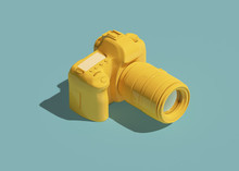 Yellow DSLR Camera Icon Isometric View. 3d Rendering