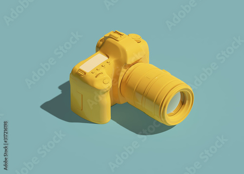 Cuadros en Lienzo Yellow DSLR camera icon isometric view. 3d rendering