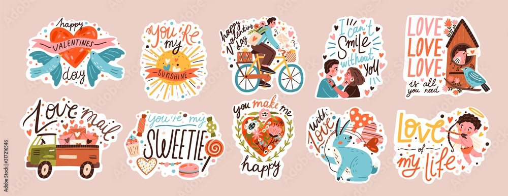 Set of valentines day doodle sticker vector flat illustration. Collection of love symbol and romantic elements cartoon character. Hand drawn 14 february isolated bundle.