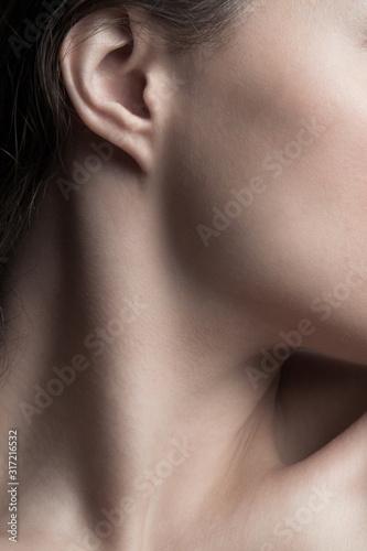 część młodej kobiety zbliżenie szyi i twarzy naturalne pojęcie pielęgnacji urody