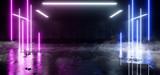 Fototapeta Scene - Dark neon Laser Smoke Fog Orange Blue Glowing Fluorescent Garage Underground Parking Car Showcase Empty Background Concrete Reflective Grunge 3D Rendering