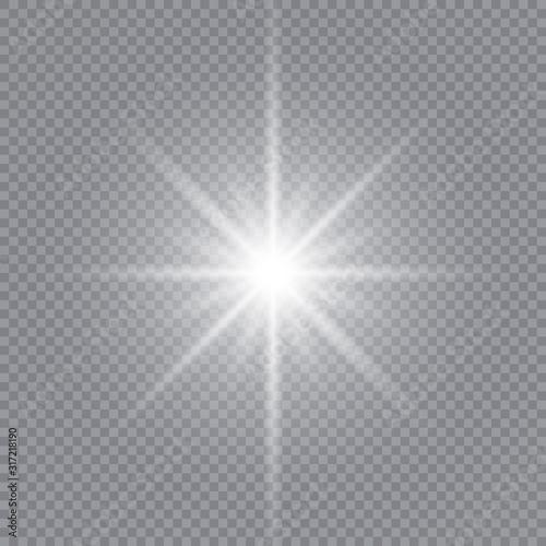 Fototapeta Glow light effect. White glowing light burst explosion with transparent. Sun. Vector illustration. obraz