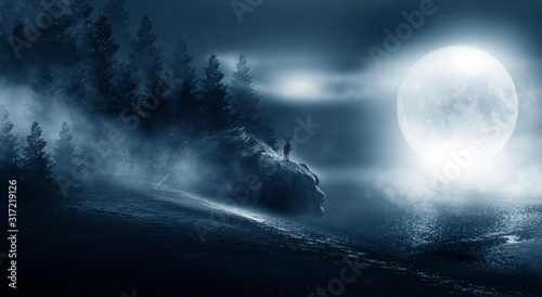 Night futuristic landscape, cold night, smog, trees in the fog Slika na platnu
