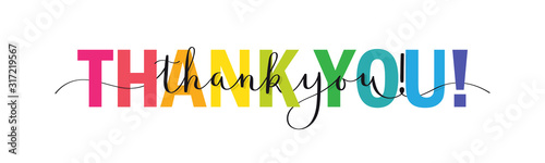 Fototapeta Rainbow-colored mixed typography THANK YOU! banner with brush calligraphy obraz