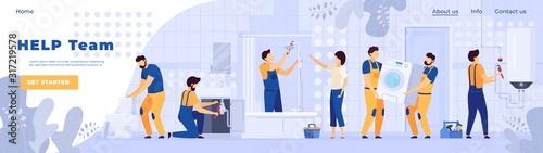 Fototapety, obrazy: Repair service plumbers people work in bathroom, vector illustration
