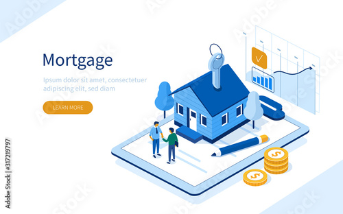 Fototapeta Character Buying Mortgage House and Shaking Hands with Real Estate Agent. People Invest Money in Real Estate Property. House Loan, Rent and Mortgage Concept. Flat Isometric Vector Illustration. obraz