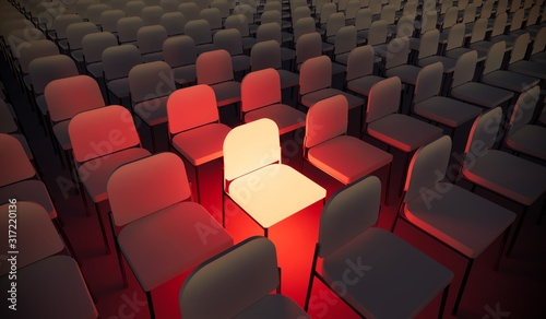 Obraz Concept or conceptual orange armchair standing out in a  conference room as a metaphor for leadership, vision and strategy. A 3d illustration of individuality, creativity and achievement - fototapety do salonu