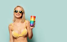 Beautiful Blonde Woman In Biki...