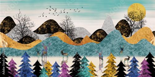 Obrazy do łazienki  3d-modern-art-mural-wallpaper-with-dark-blue-jungle-forest-background-golden-deer-black