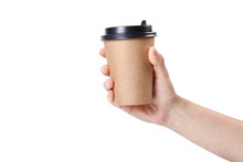 Hand Holding A Cup Isolated On...