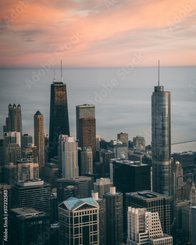 Vertical high angle shot of a cityscape with tall skyscrapers in Chicago, USA