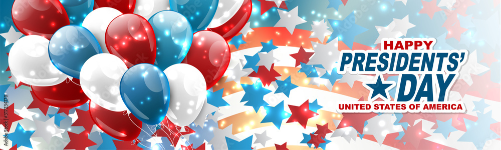 Fototapeta Happy Presidents day banner or website header. Newsletter design decor. USA national public holiday concept with american flag and balloons. Vector illustration.