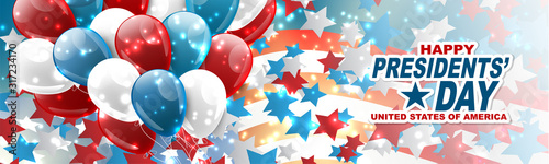 Obraz Happy Presidents day banner or website header. Newsletter design decor. USA national public holiday concept with american flag and balloons. Vector illustration. - fototapety do salonu