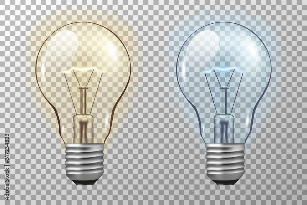 Fototapeta Realistic light bulb. Glowing yellow and blue filament lamps. Vector 3D light bulbs set on transparent background. template creativity idea business innovation