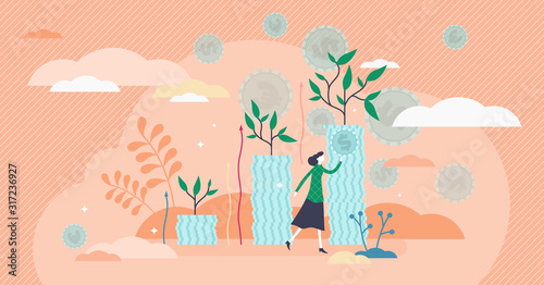Fototapeta Growing income flat tiny person concept vector illustration obraz