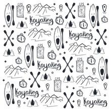 Kayaking Or Rafting Hand Draw ...