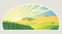 Rural Landscape With Dawn Over Fields And Hills In A Semicircular Frame.