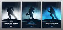 Set Of Ice Hockey Posters With Players And Stick.