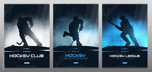 Photo Set of Ice Hockey posters with players and Stick.