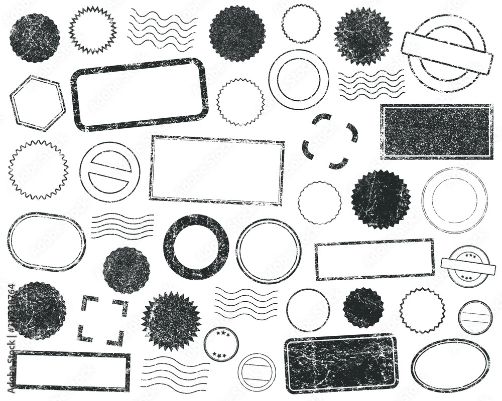 Fototapeta Stamps frames vector icon shape set. Stamp grunge ink rubber labels sign collection. Isolated on white background. Black round and square stamp border pack.