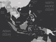 Southeast Asia Map - Grey Colo...