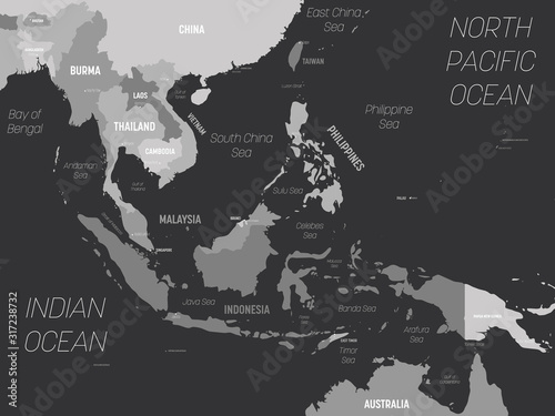 Southeast Asia map - grey colored on dark background Canvas Print