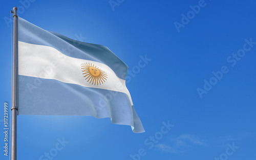 Argentina flag waving in the wind against deep blue sky Canvas Print