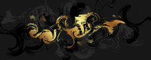 Abstract Art Gold Design Black...
