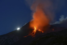 Etna And The Moon In A Nighttime Eruption, Etna Mount, Sicily, Italy, Europe
