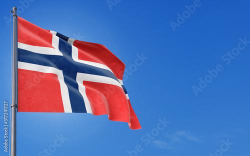Bouvet Islands flag waving in the wind against deep blue sky Wallpaper Mural