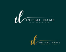 I L IL Initial Handwriting Logo Vector. Hand Lettering For Designs.