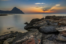Sunset From The Monte Cofano Nature Reserve, In The Background The Monte Cofano Peak, Trapani, Sicily, Italy