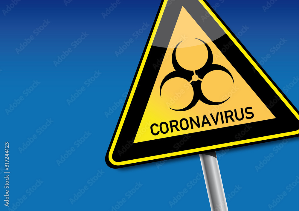 Fototapeta Coronavirus - warning sign on a blue background
