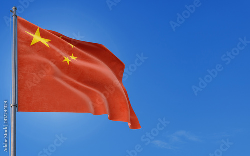 China flag waving in the wind against deep blue sky Wallpaper Mural