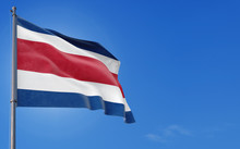 Costa Rica Flag Waving In The ...