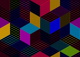 Dotted seamless isometric geometric pattern, dots and lines 3D cubes vector tiling background, architecture and construction, wallpaper design.