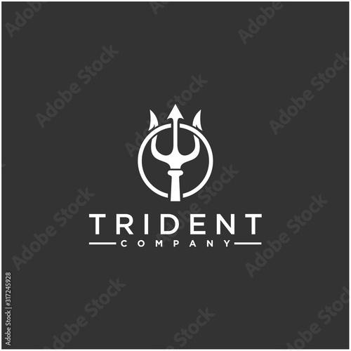 Circular Trident logo, Neptune God Poseidon Triton King Spear logo design Fototapeta