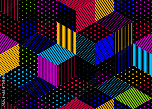 Photo Dotted seamless isometric geometric pattern, dots and lines 3D cubes vector tiling background, architecture and construction, wallpaper design