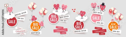 Cuadros en Lienzo Valentines day sale set round banners, paper cut stickers with funny characters animated hearts