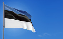 Estonia Flag Waving In The Wind Against Deep Blue Sky. National Theme, International Concept. Copy Space For Text.