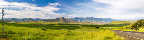 Panorama of the Amphitheatre of the Drakensberg mountains on a sunny summer day, Wallpaper Mural