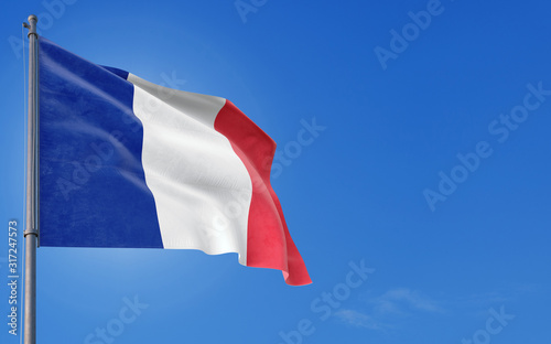 Photo France flag waving in the wind against deep blue sky