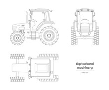 Outline Blueprint Of Tractor. Side, Front And Top View Of Agriculture Machinery. Farming Vehicle. Industry Isolated Drawing